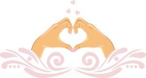 Palmas fêmeas na forma do coração Ícone para o projeto Imagem de Stock Royalty Free