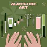 Palmas femeninas y un sistema de herramientas y de accesorios para la manicura y los esmaltes de uñas stock de ilustración