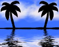 Palmas na praia Imagens de Stock