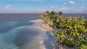 Palmas na rendição tropical da praia 3d ilustração royalty free