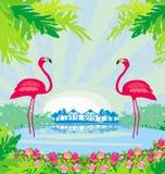 palmas verdes y flamenco rosado libre illustration