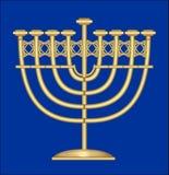 Palmatoria antigua clásica del oro, candelero nueve-ramificado, símbolo del banquete judío de Jánuca Imagenes de archivo