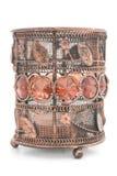 Palmatoria de bronce vieja con los ornamentos de cristal Imagen de archivo