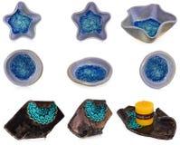 Palmatoria hecha a mano de cerámica con el modelo y el bl decorativos azules imagen de archivo