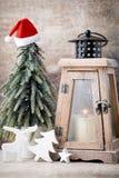 Palmatoria Linterna de la Navidad Decoración de Cristmas, saludando el Ca Fotos de archivo libres de regalías