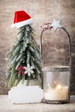 Palmatoria Linterna de la Navidad Decoración de Cristmas, saludando el Ca Foto de archivo libre de regalías