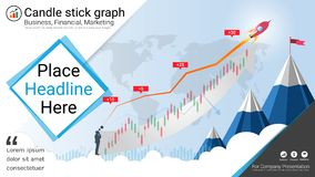 Palmatoria y cartas financieras del gráfico, plantilla de las presentaciones de Infographic ilustración del vector