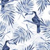 Palmblad och tukan Sömlös modell 1 för vattenfärg Royaltyfria Foton