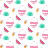 Palmblad, roomijs, zwempak, watermeloen Het naadloze patroon van de zomer Gebruikt voor ontwerpvlakken, stoffen, textiel, verpakk stock illustratie