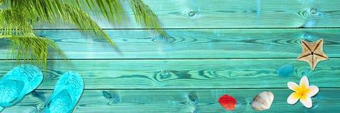 Palmblad, wipschakelaars en zeeschelpen op blauwe houten planken, panoramische strand en de zomerachtergrond stock afbeeldingen