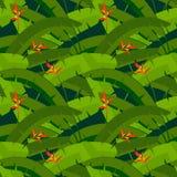 Palmbladen met bloemen, naadloos patroon Stock Afbeeldingen