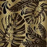 Palmbladen overladen vector naadloos patroon De sier gouden geweven 3d achtergrond van het netrooster Decoratieve bloemen herhaal vector illustratie