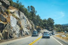 Weekend tour in Los Angeles. Family Country Trip. Palmdale, California, USA - June 14, 2017: variety of cars on the interstate highway in California, USA. Car Stock Photo