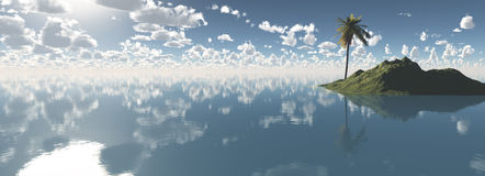 Palme am bewölkten Tag der Insel in Meer Lizenzfreies Stockfoto