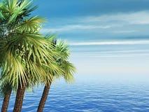 palme 3D contro un paesaggio blu dell'oceano illustrazione di stock
