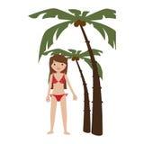 Palme del fondo con la donna in bikini Fotografie Stock Libere da Diritti