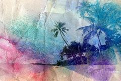 Palme dell'acquerello e riva di mare Immagini Stock