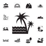 palme e l'icona del mare Insieme dettagliato delle icone dei paesaggi Progettazione grafica premio Una delle icone della raccolta illustrazione vettoriale