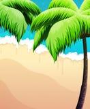 Palme, mare e sabbia Immagini Stock