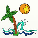 Palme-Meereswoge und orange Sun lizenzfreie abbildung