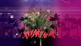 Palme mit anderen Palmen im Schatten während virtuelles Quadrat, das wie Pixel auf Vordergrund zischt lizenzfreie abbildung