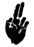 Palme mit zwei entfalteten Fingern Stockbild