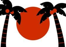 Palme nere con le noci di cocco ed il sole rosso, fondo tropicale, vettore illustrazione di stock