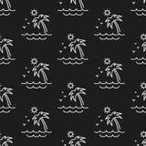 Palme, Sonne und Meer Muster Nahtlose vektorabbildung zeile flach lizenzfreie abbildung