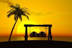 Palme, Sonnenuntergang und Schwingen
