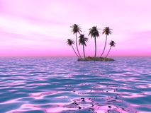 Palme sull'isola contro il tramonto illustrazione vettoriale