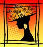 Palme tropicali e ragazza africana Fotografia Stock Libera da Diritti