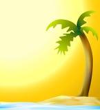 Palme und Strand im Sonnenuntergang lizenzfreie abbildung