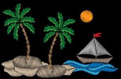 Palme und wenig Boot mit blauen Wellenstickereistichen imi Stockfoto