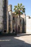 Palme zur Frontseite einer Kirche Stockfotografie