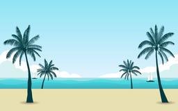 Palmeira da silhueta na praia no meio-dia com o céu azul da cor no fundo liso do projeto do ícone ilustração do vetor