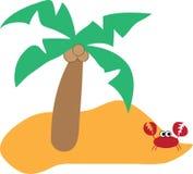 Palmeira e caranguejo ilustração royalty free