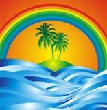 Palmeira e onda Fotografia de Stock