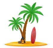 A palmeira e os acessórios para o estoque do resto vector a ilustração Imagens de Stock Royalty Free