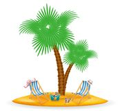A palmeira e os acessórios para o estoque do resto vector a ilustração Foto de Stock