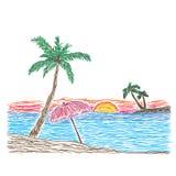 Palmeira em uma praia tropical, esboço, ilustração do vetor Fotos de Stock