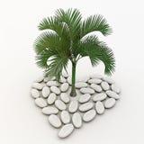 Palmeira que está no meio do symb do coração Imagens de Stock Royalty Free