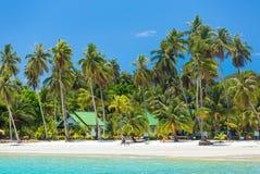 Palmeiras na praia tropical bonita na ilha de Koh Kood Imagem de Stock Royalty Free