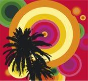 Palmeiras no céu colorido Fotos de Stock