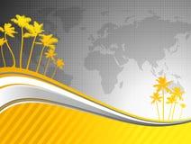 Palmeiras no fundo do mapa de mundo Fotografia de Stock Royalty Free