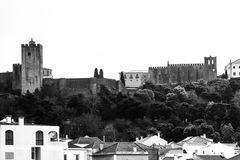 Castle of Palmela seen from the center of the city, in Palmela, Setúbal, Portugal. Palmela Castle seen from the center of the city. Fortress built on the royalty free stock images