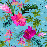 Palmemuster des Vektors tropisches Stockfoto