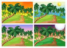 Palmen auf den Hügeln bei vier verschiedenen Mal lizenzfreie abbildung