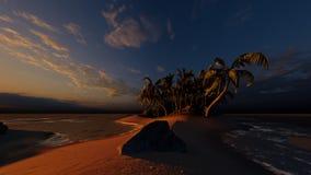 Palmen auf der tropischen Wiedergabe des Strandes 3d vektor abbildung