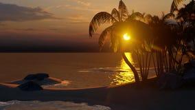 Palmen auf der tropischen Wiedergabe des Strandes 3d stock abbildung