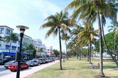Palmen en Auto's op Oceaanaandrijving, Zuidenstrand, Miami Stock Foto's